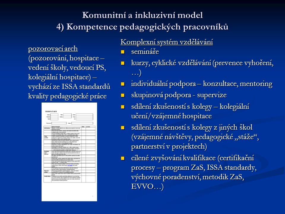 Komunitní a inkluzivní model 4) Kompetence pedagogických pracovníků