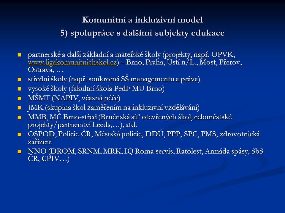 Komunitní a inkluzivní model 5) spolupráce s dalšími subjekty edukace