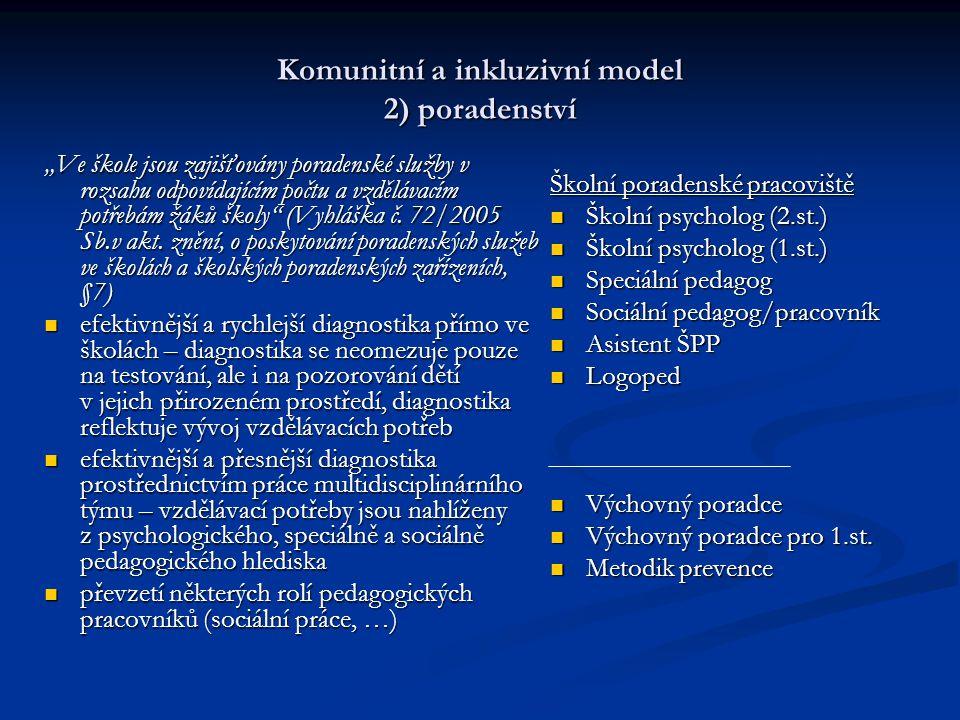 Komunitní a inkluzivní model 2) poradenství