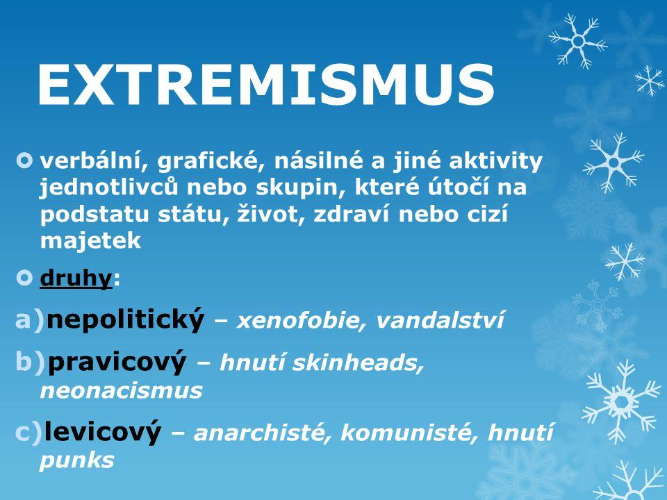 EXTREMISMUS nepolitický – xenofobie, vandalství