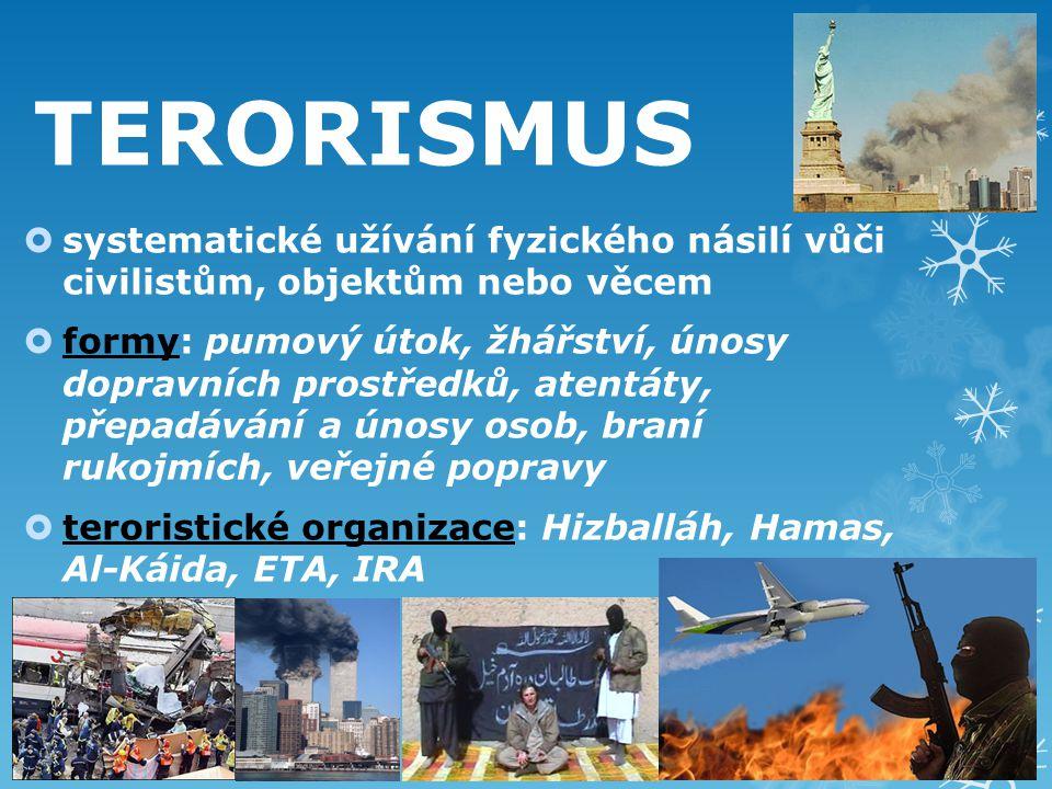 TERORISMUS systematické užívání fyzického násilí vůči civilistům, objektům nebo věcem.