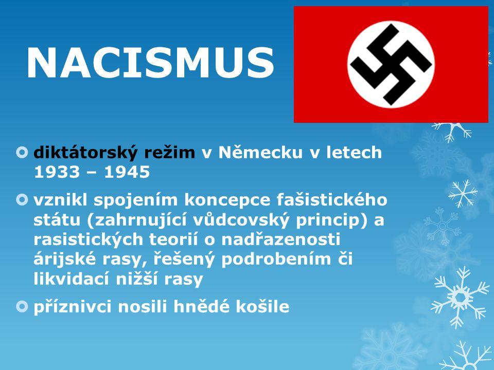 NACISMUS diktátorský režim v Německu v letech 1933 – 1945