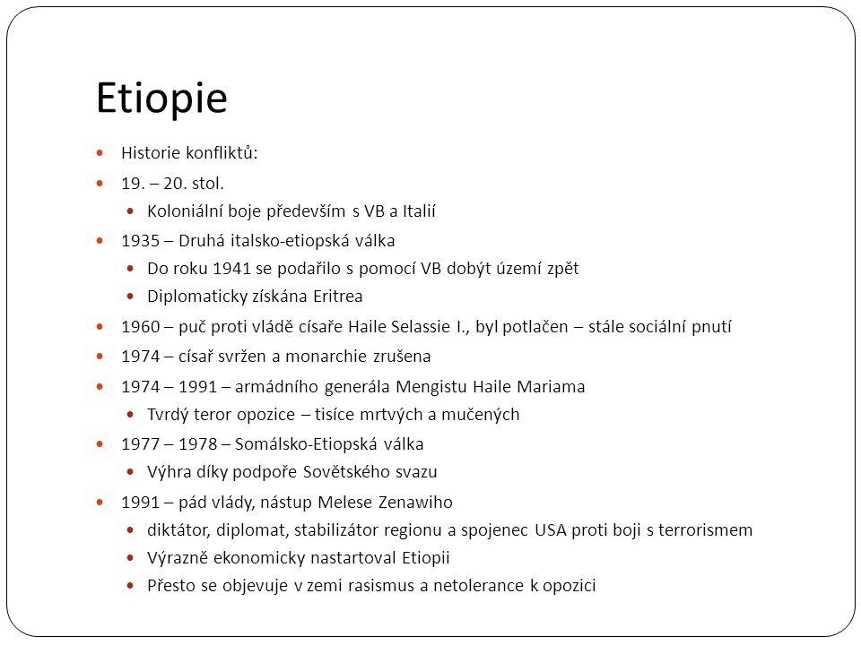 Etiopie Historie konfliktů: 19. – 20. stol.