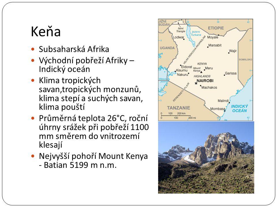 Keňa Subsaharská Afrika Východní pobřeží Afriky – Indický oceán
