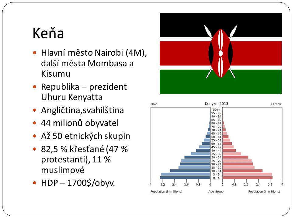 Keňa Hlavní město Nairobi (4M), další města Mombasa a Kisumu