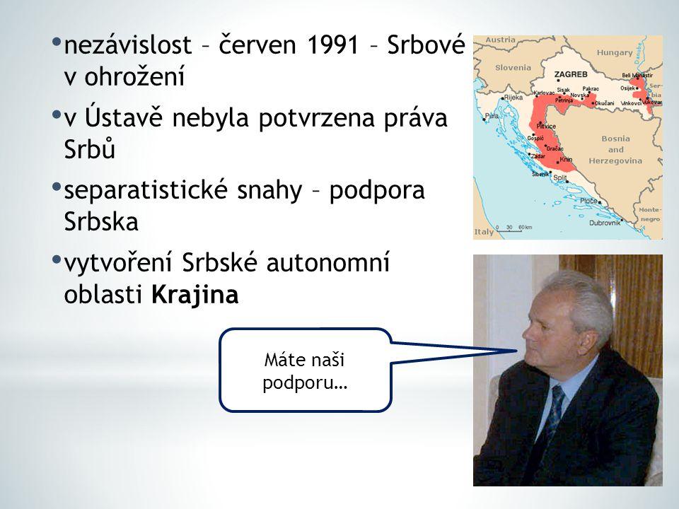 nezávislost – červen 1991 – Srbové v ohrožení
