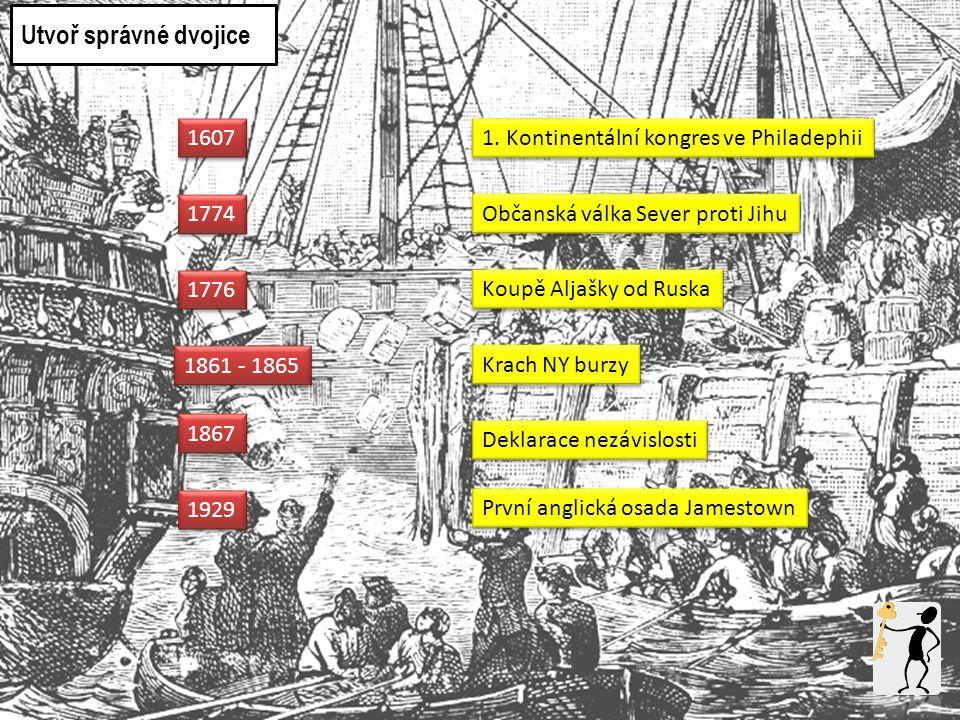 Utvoř správné dvojice 1607 1. Kontinentální kongres ve Philadephii