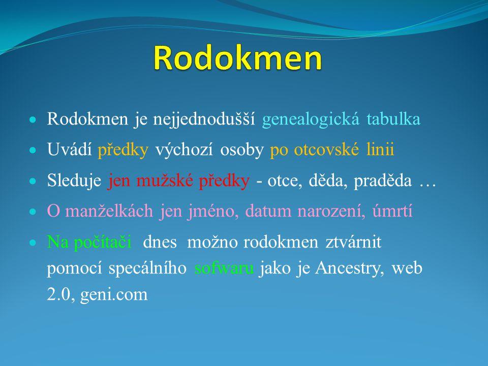 Rodokmen Rodokmen je nejjednodušší genealogická tabulka