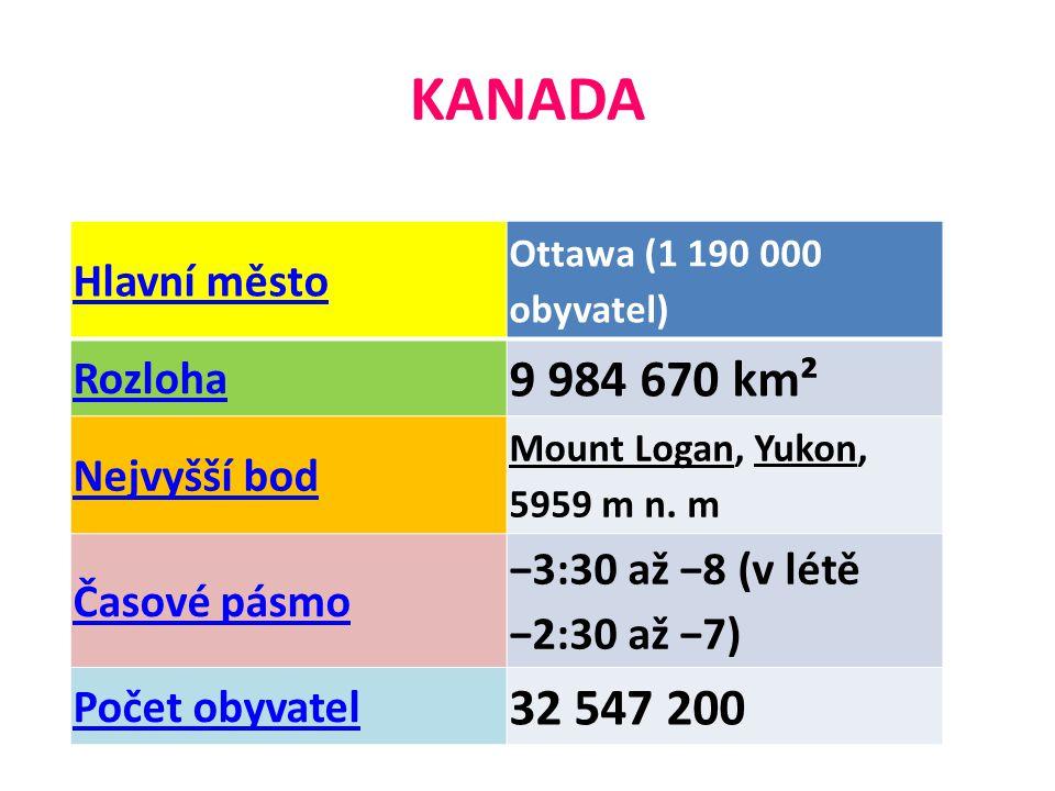 KANADA 9 984 670 km² 32 547 200 Hlavní město Rozloha Nejvyšší bod