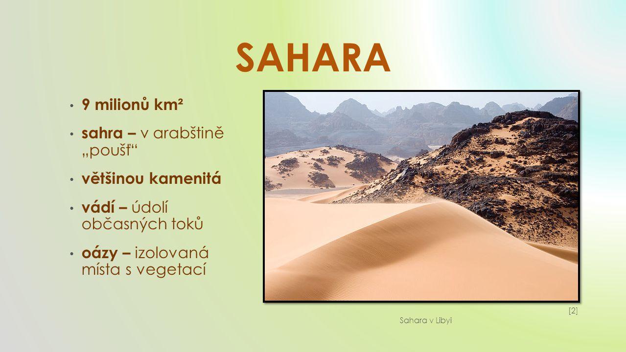 """SAHARA 9 milionů km² sahra – v arabštině """"poušť většinou kamenitá"""