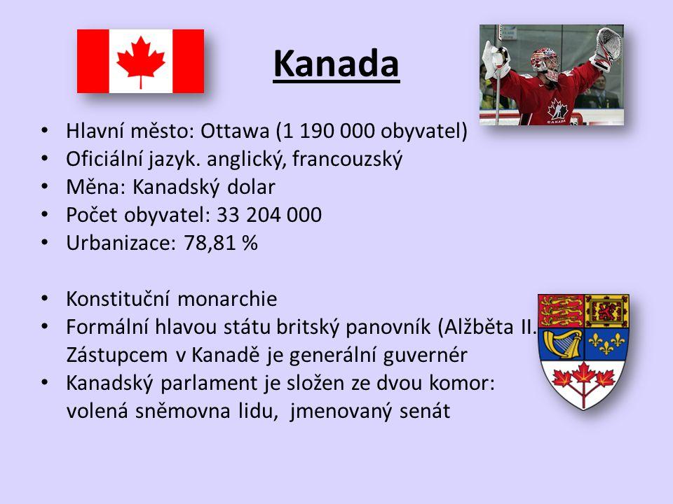 Kanada Hlavní město: Ottawa (1 190 000 obyvatel)