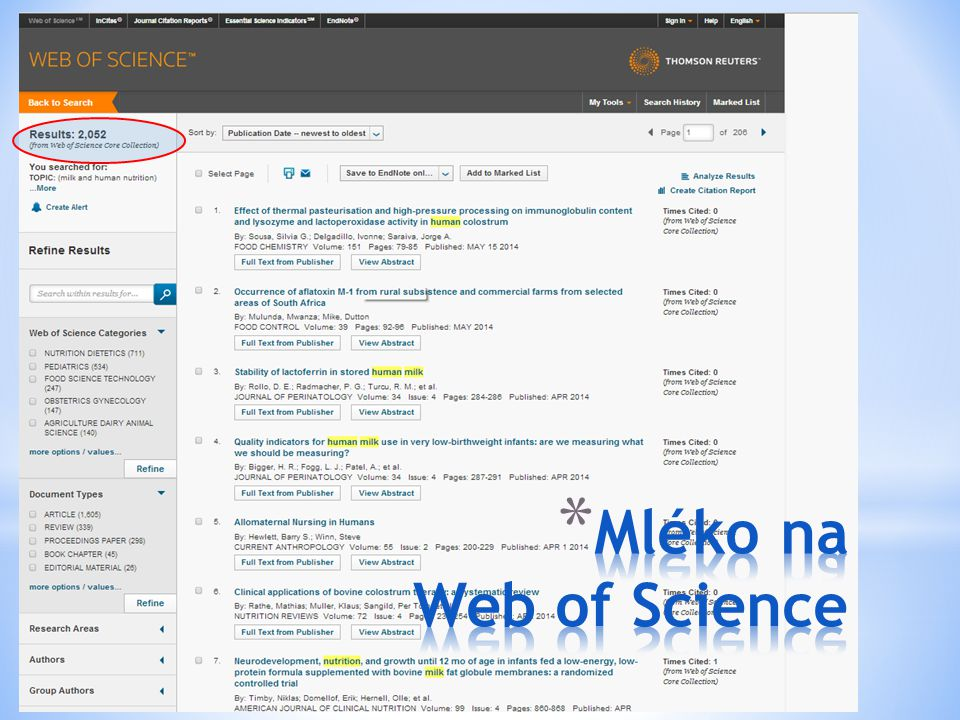 Mléko na Web of Science