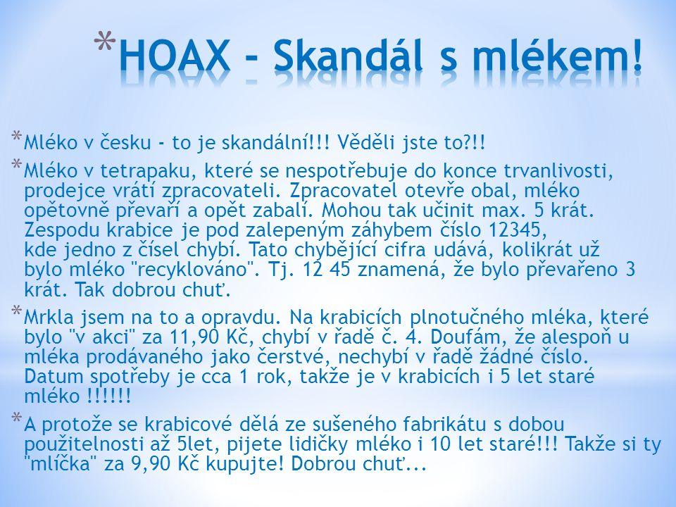 HOAX - Skandál s mlékem! Mléko v česku - to je skandální!!! Věděli jste to !!