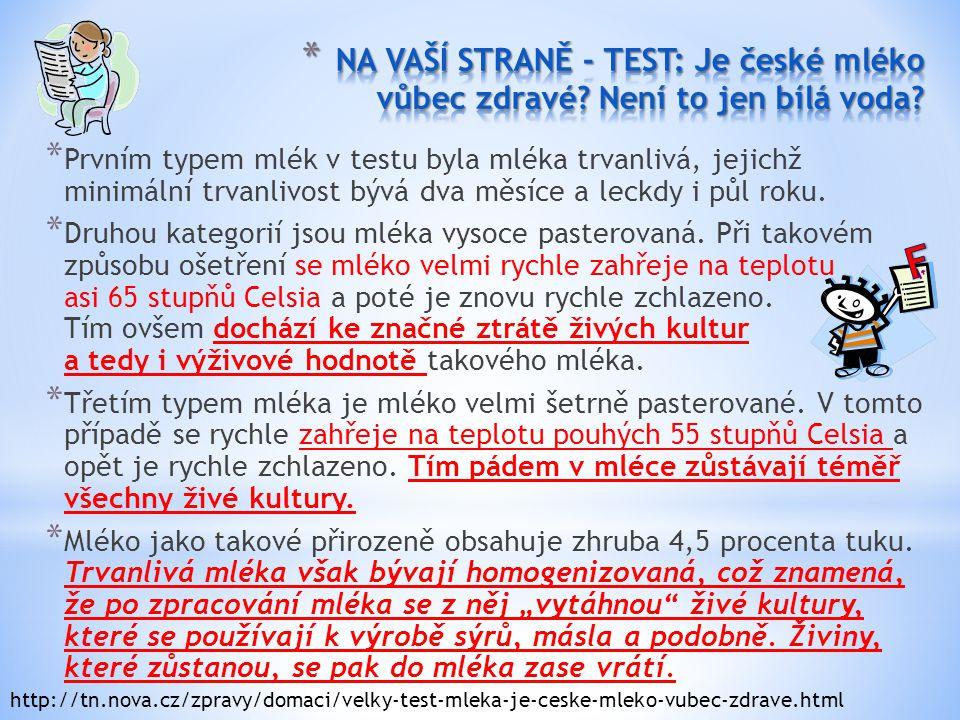 NA VAŠÍ STRANĚ - TEST: Je české mléko vůbec zdravé