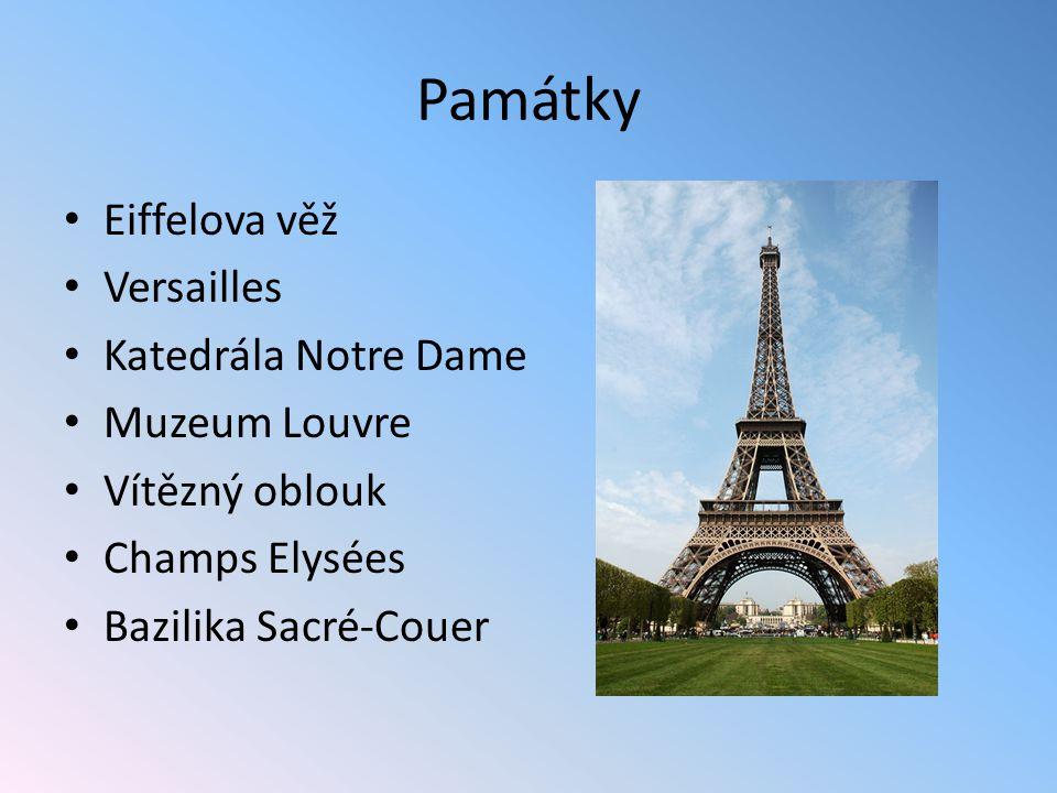 Památky Eiffelova věž Versailles Katedrála Notre Dame Muzeum Louvre