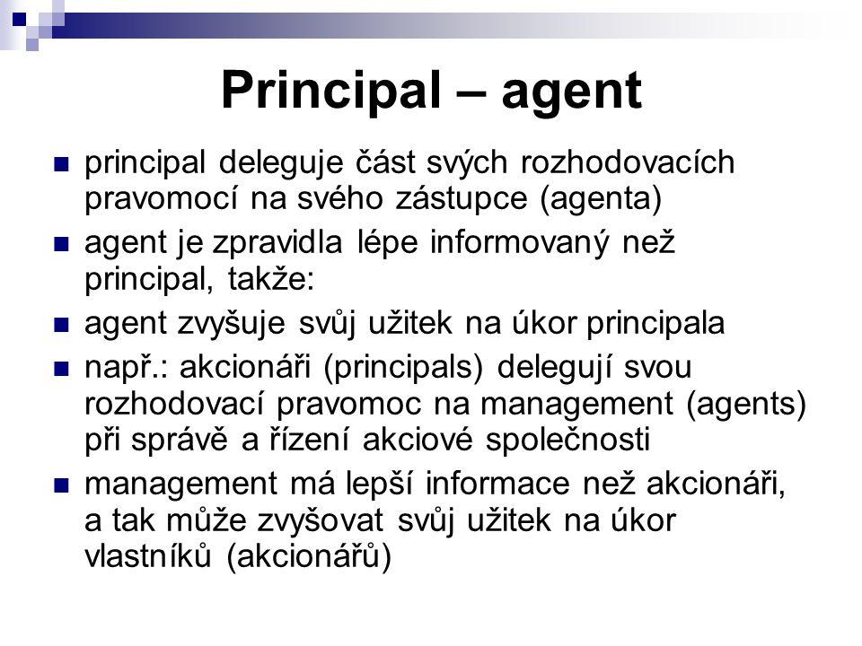 Principal – agent principal deleguje část svých rozhodovacích pravomocí na svého zástupce (agenta)