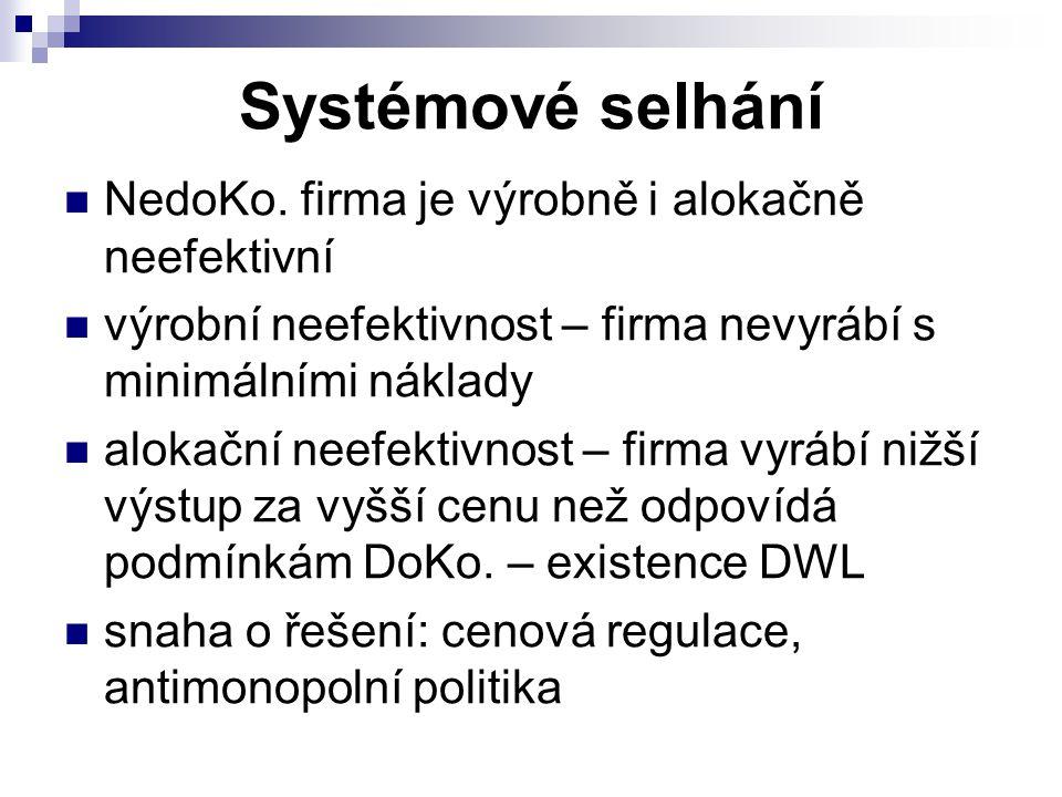 Systémové selhání NedoKo. firma je výrobně i alokačně neefektivní