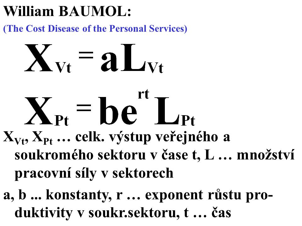 William BAUMOL: (The Cost Disease of the Personal Services)