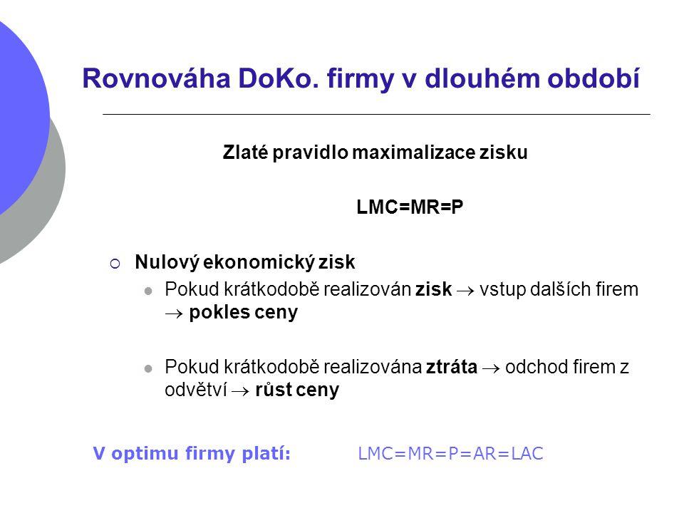 Rovnováha DoKo. firmy v dlouhém období