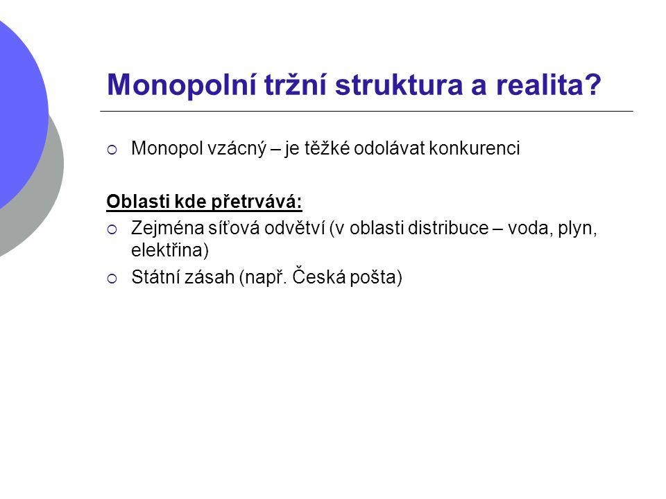 Monopolní tržní struktura a realita