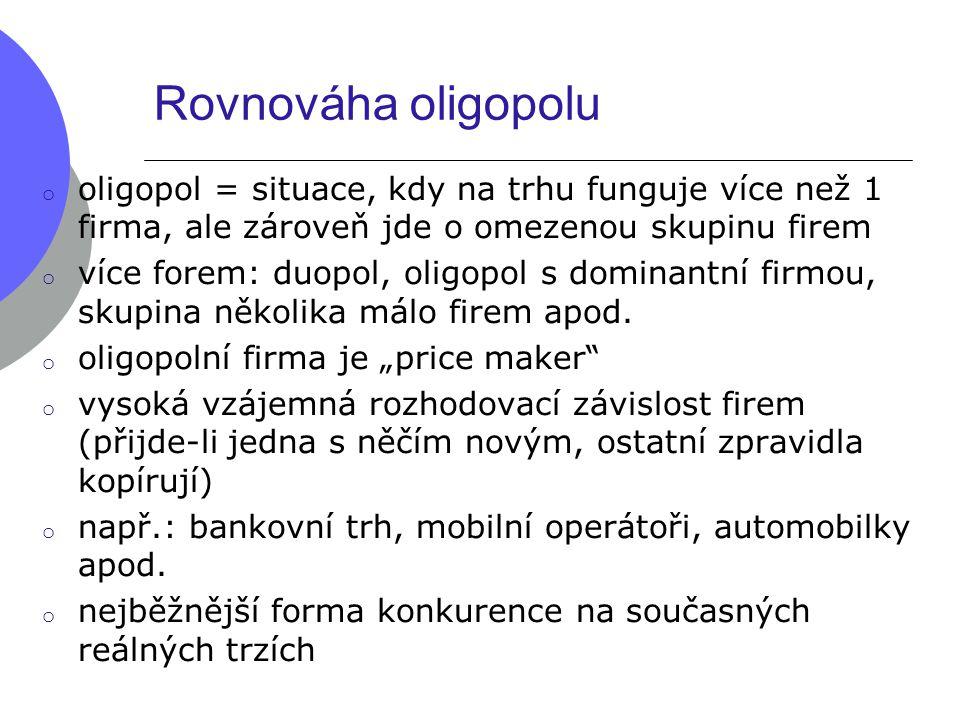 Rovnováha oligopolu oligopol = situace, kdy na trhu funguje více než 1 firma, ale zároveň jde o omezenou skupinu firem.