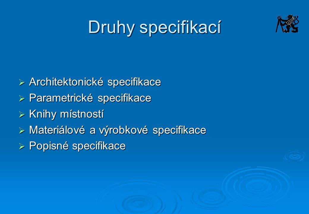 Druhy specifikací Architektonické specifikace Parametrické specifikace