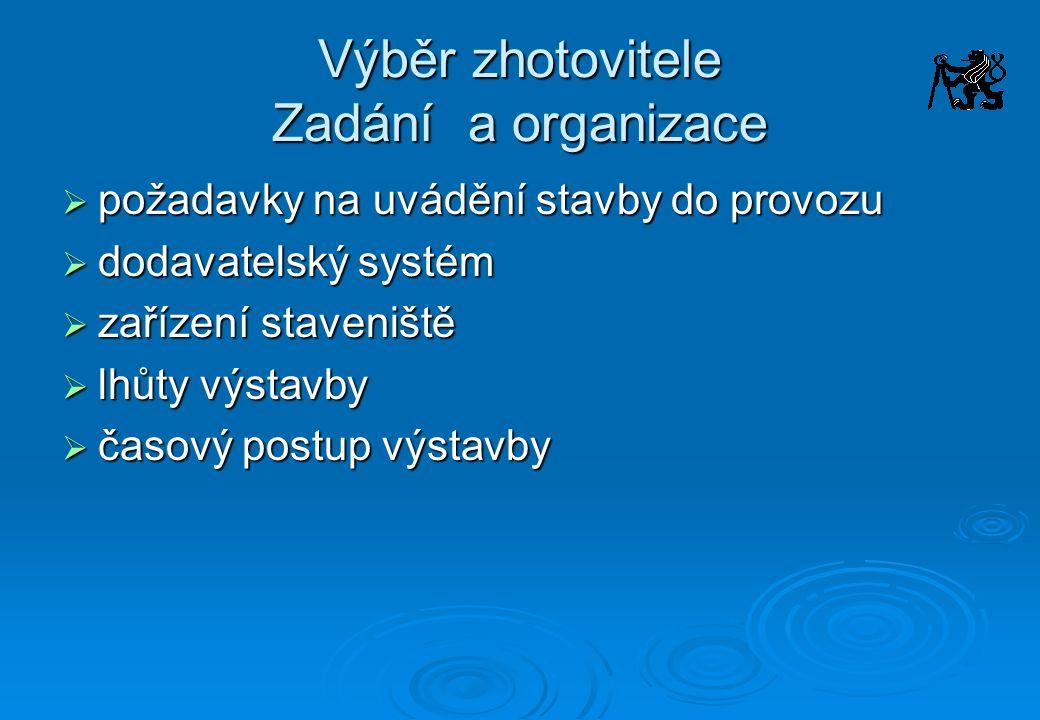 Výběr zhotovitele Zadání a organizace