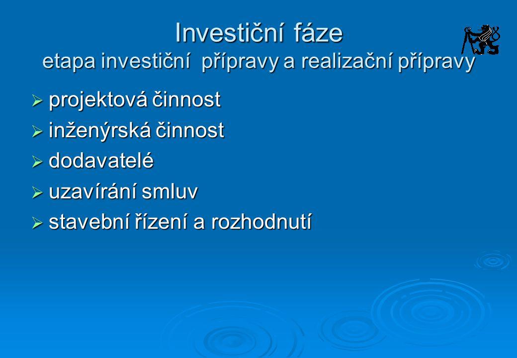 Investiční fáze etapa investiční přípravy a realizační přípravy