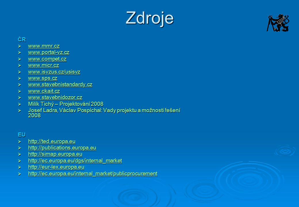 Zdroje ČR www.mmr.cz www.portal-vz.cz www.compet.cz www.micr.cz