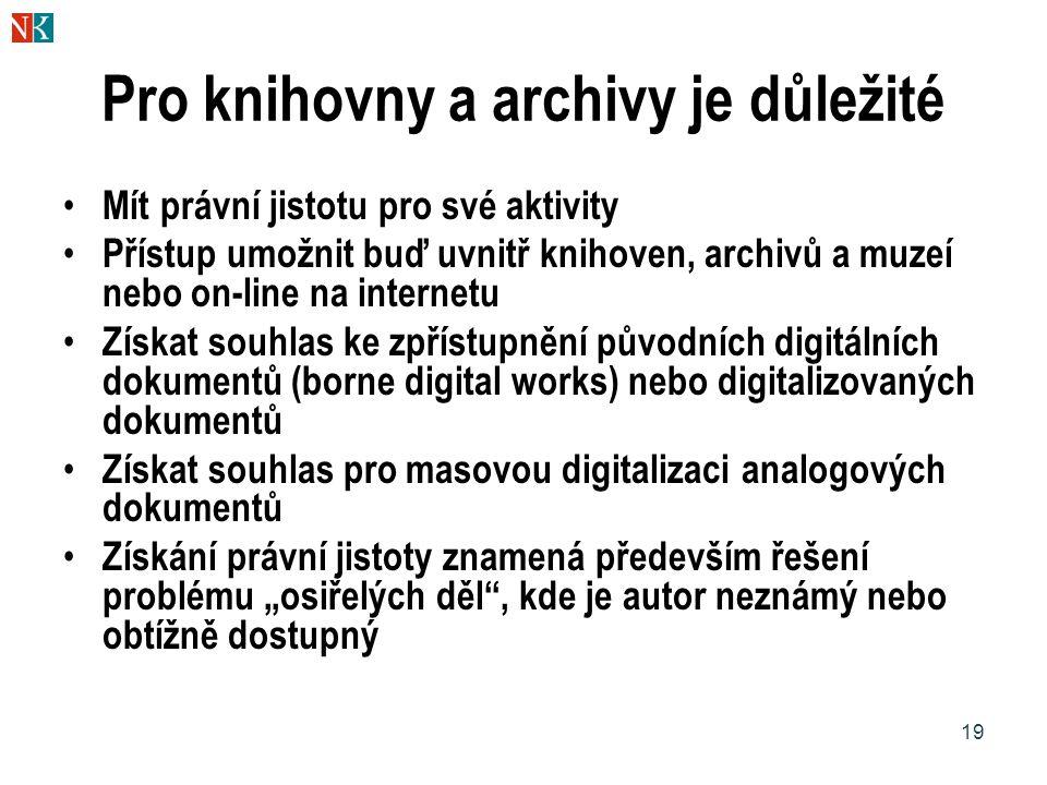 Pro knihovny a archivy je důležité