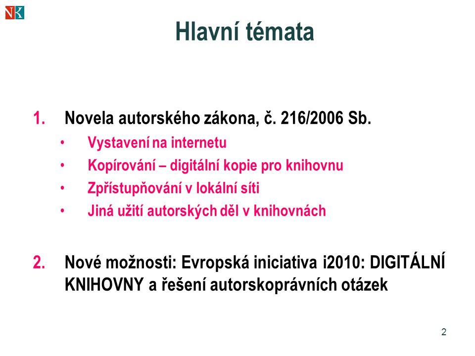 Hlavní témata Novela autorského zákona, č. 216/2006 Sb.