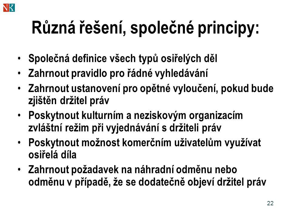 Různá řešení, společné principy: