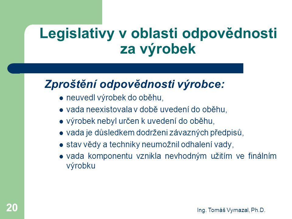 Legislativy v oblasti odpovědnosti za výrobek