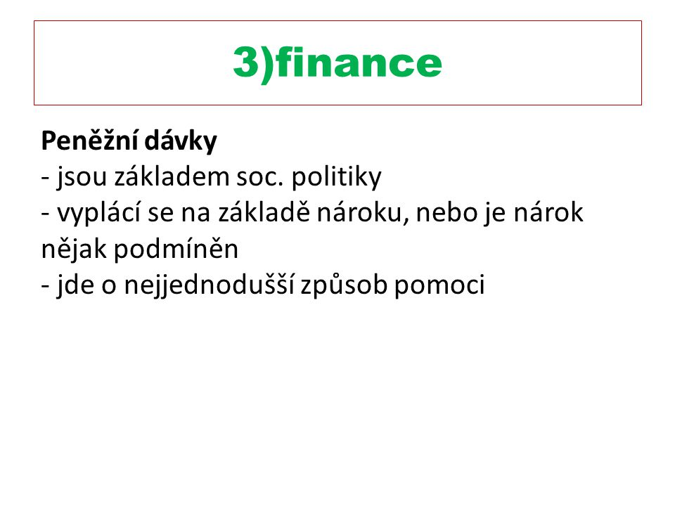 3)finance