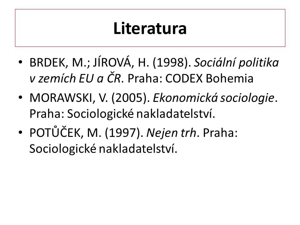 Literatura BRDEK, M.; JÍROVÁ, H. (1998). Sociální politika v zemích EU a ČR. Praha: CODEX Bohemia.