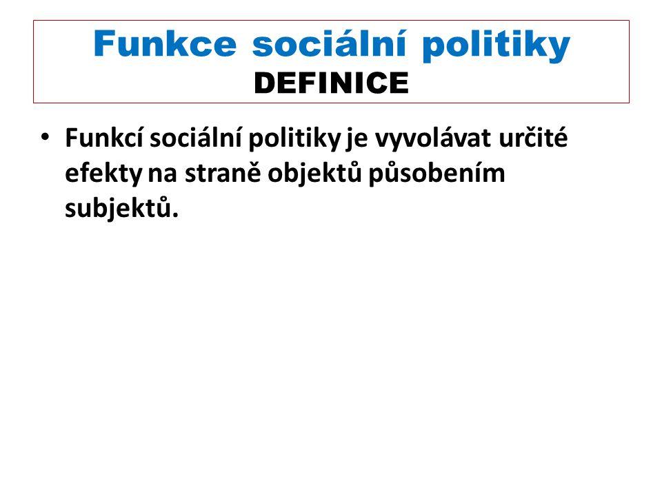 Funkce sociální politiky DEFINICE