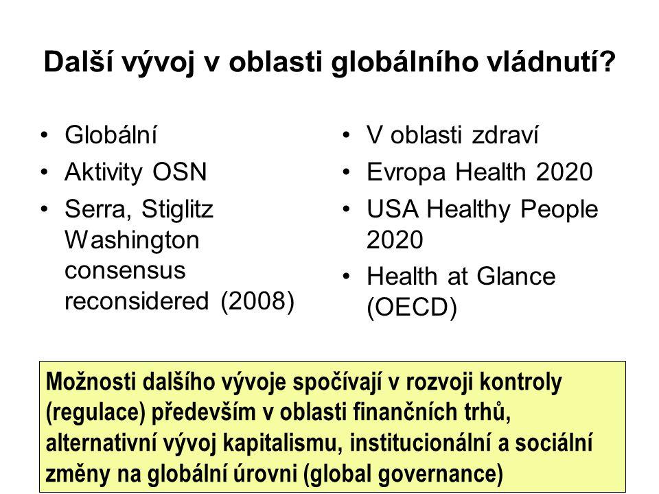 Další vývoj v oblasti globálního vládnutí