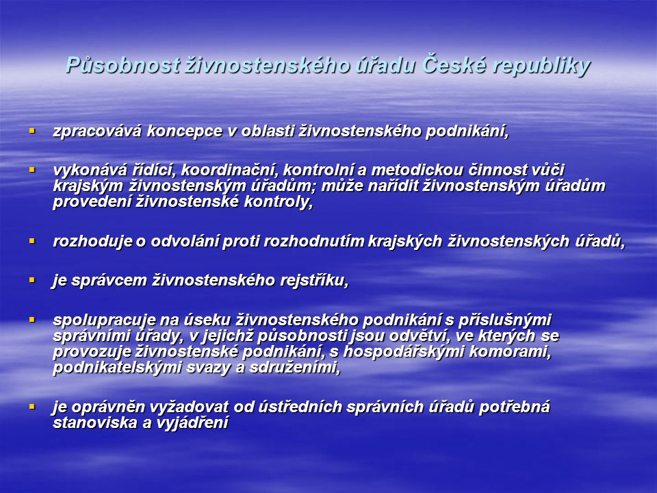 Působnost živnostenského úřadu České republiky