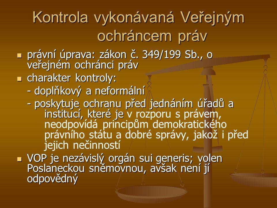 Kontrola vykonávaná Veřejným ochráncem práv