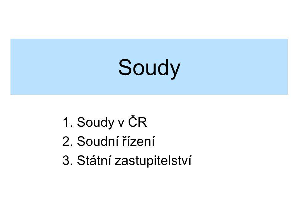 1. Soudy v ČR 2. Soudní řízení 3. Státní zastupitelství