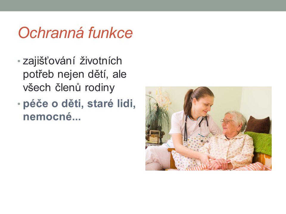 Ochranná funkce zajišťování životních potřeb nejen dětí, ale všech členů rodiny. péče o děti, staré lidi, nemocné...