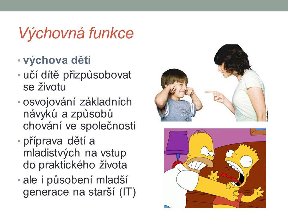 Výchovná funkce výchova dětí učí dítě přizpůsobovat se životu