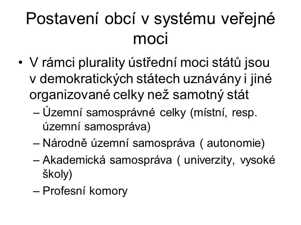 Postavení obcí v systému veřejné moci