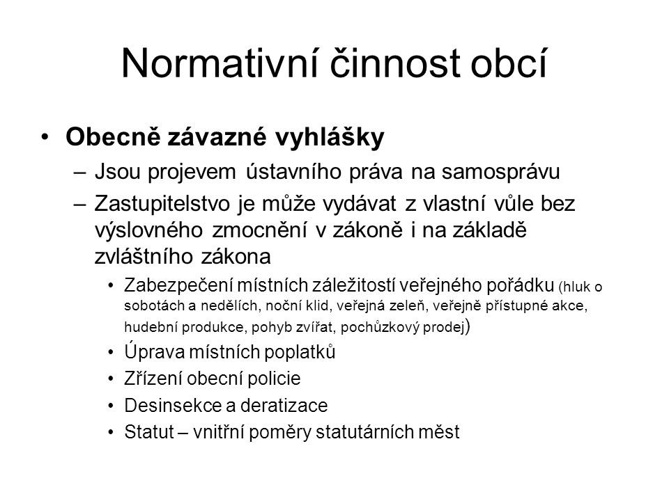 Normativní činnost obcí