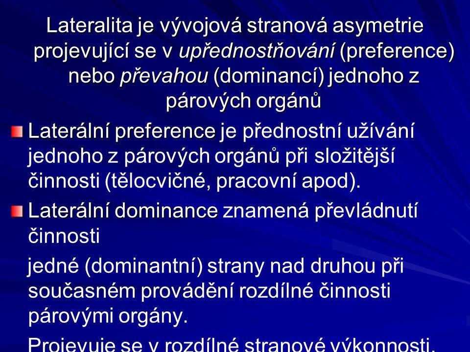 Lateralita je vývojová stranová asymetrie projevující se v upřednostňování (preference) nebo převahou (dominancí) jednoho z párových orgánů