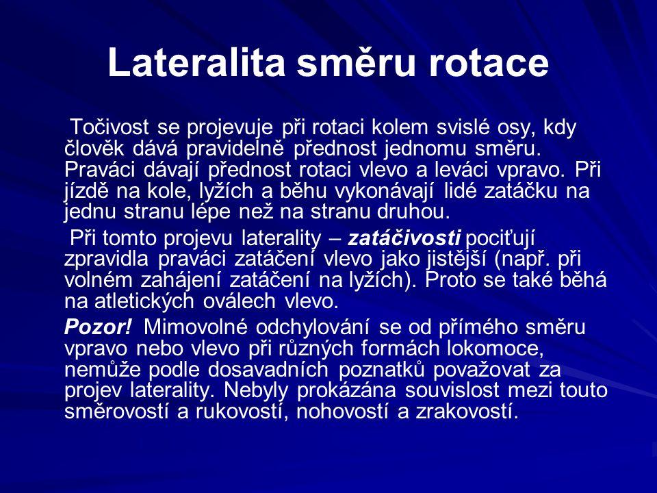 Lateralita směru rotace