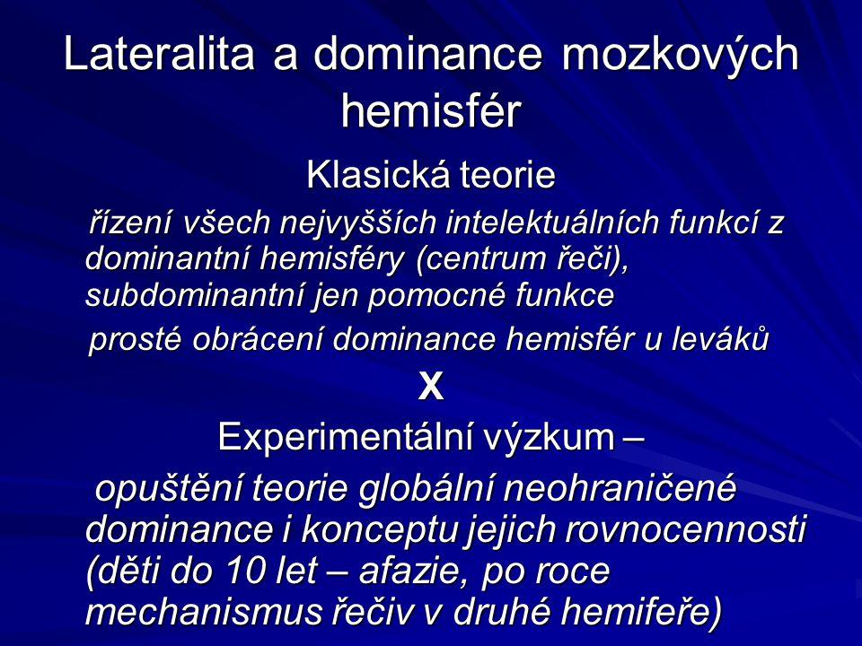 Lateralita a dominance mozkových hemisfér