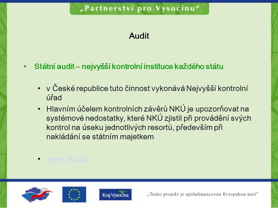 Audit Státní audit – nejvyšší kontrolní instituce každého státu