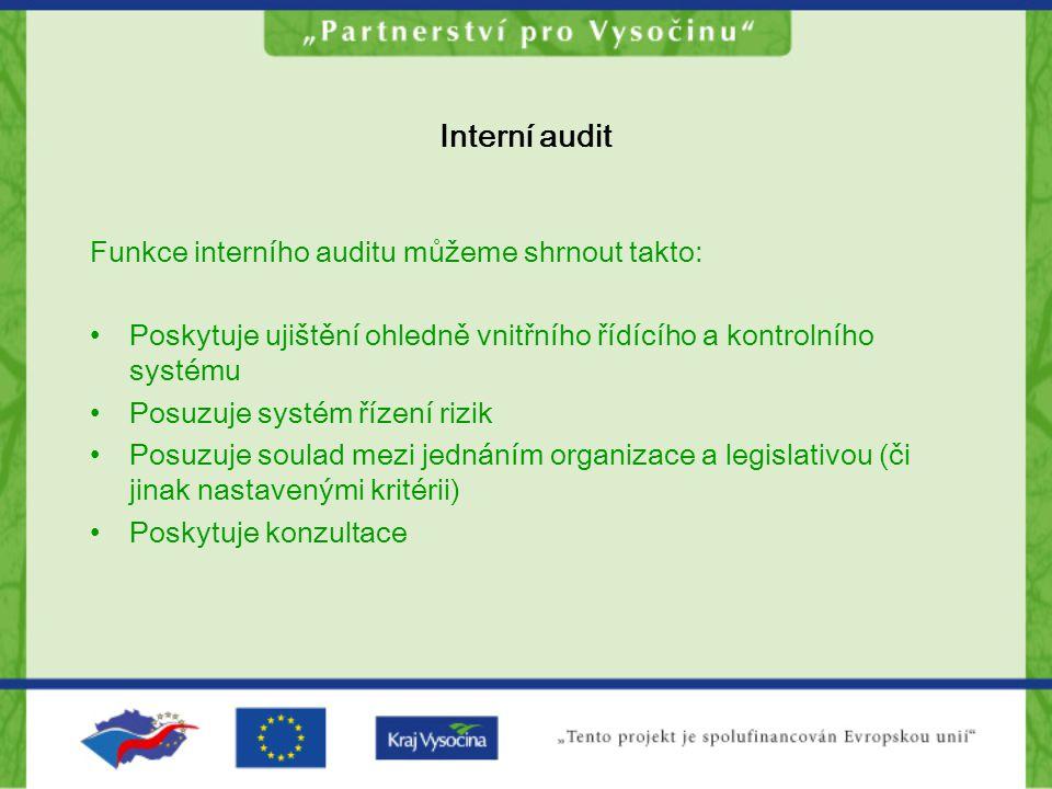 Interní audit Funkce interního auditu můžeme shrnout takto: