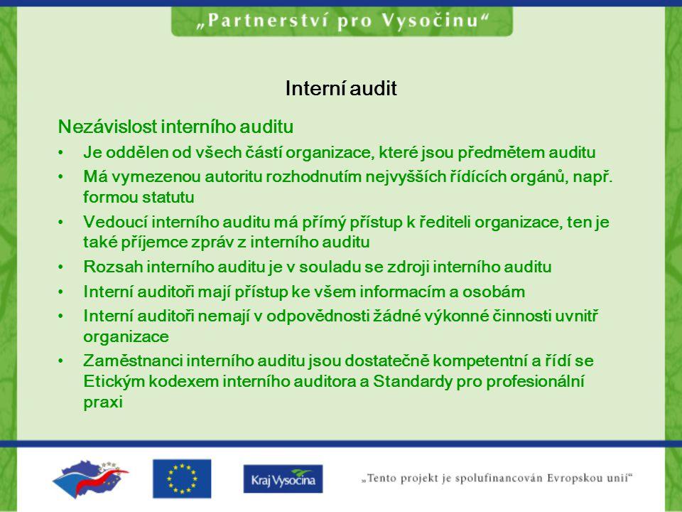 Interní audit Nezávislost interního auditu